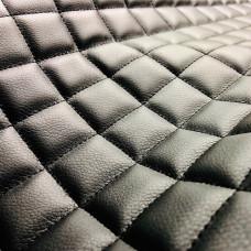 Экокожа черная гладкая стеганная ППУ5мм+сетка (ромб 5*5мм)