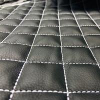 Экокожа стеганая черная 1 мм, стежка 3-слойная, ппу 5 мм сетка, нитки белые