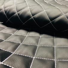Экокожа стеганая черная 1 мм, стежка 3-слойная, ппу 5 мм сетка, нитки серые