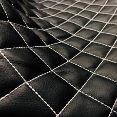 Экокожа стеганая черная 0,85 мм, ппу 5 мм сетка, нитки серые